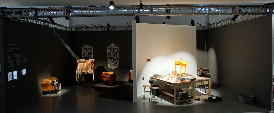"""""""At Art Basel, Fendi created a new concept of exhibiting. The Craft Alchemy is like flying furniture. It consists on a series of antique furniture pieces.""""  FENDI'S """"CRAFT ALCHEMY"""": FLYING FURNITURE imag1"""