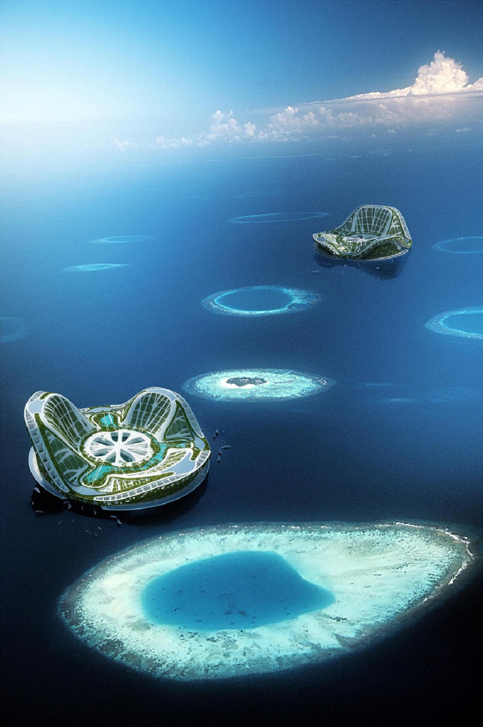 """""""The Lilypad, by Vincent Callebaut, is a spectacular structure, a concept for a completely self-sufficient floating city intended to provide shelter for people."""""""