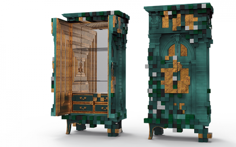 """Piccadilly Cabinet is a Limited Edition furniture piece. Designers played with architecture, perspective and impossible spaces to create this exclusive cabinet.""  New green emerald Limited Edition cabinet by Boca do Lobo piccadilly ecletic green cabinet slider boca do lobo 03 480x300"