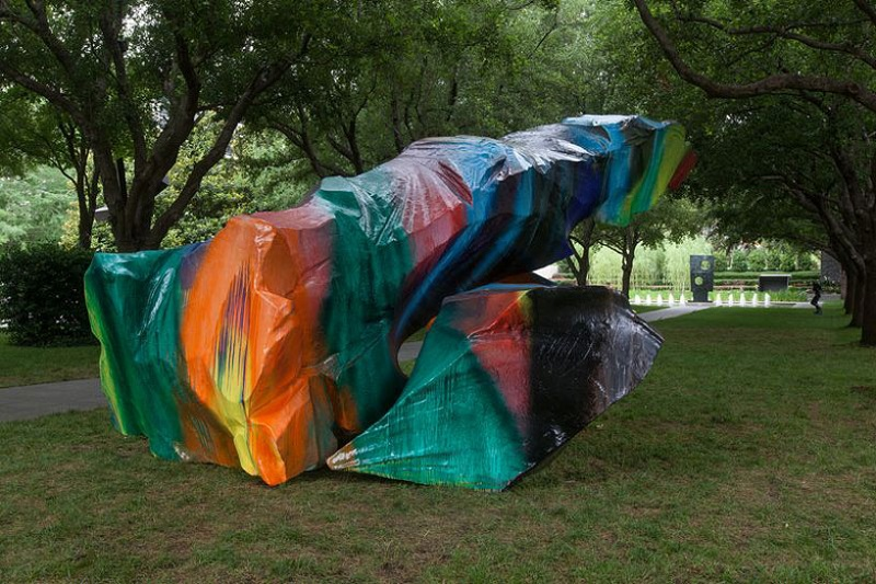 """""""This summer visitors to the Nasher can experience WUNDERBLOCK, an exhibition of works by Berlin-based artist Katharina Grosse.""""  NASHER SCULPTURE CENTER: COLORFUL SCULPTURES katharina grosse nasher sculpture center designboom 04"""