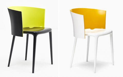 """This is a chair, part of the Joa Sekoya collection by Philippe Starck, there is various color possibilities and every person can personalize her own chair""  Philippe Starck at Milan Design Week 2014 Milan design week 2014Philippe Starck customized furniture 480x300"