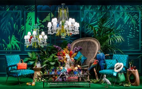 Baccarat at Printemps celebrating 250th Anniversary Baccarat Carnet de Voyage window displays at Printemps Interior Design Shop 7 480x300