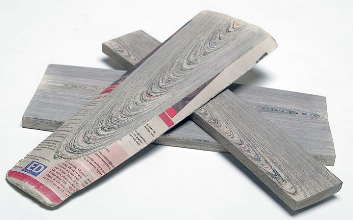 """""""With so much paper as the end result of making newspapers, Mieke envisioned an opportunity to upcycle the process and re-create wood""""  New use of materials: Newspaper furniture Newspaper Wood Mieke Meijer Vij5 yatzer 25"""