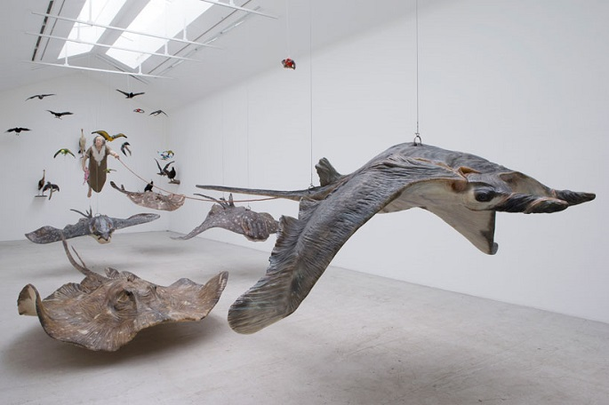 """""""Sun Yuan and Peng Yu are best known for shocking their audience through their controversial work with materials like human fat tissue and animals""""  Unique Sculptural Art by Sun Yuan and Peng Yu sun yuan   peng yu dear at galerie perrotin designboom 21"""