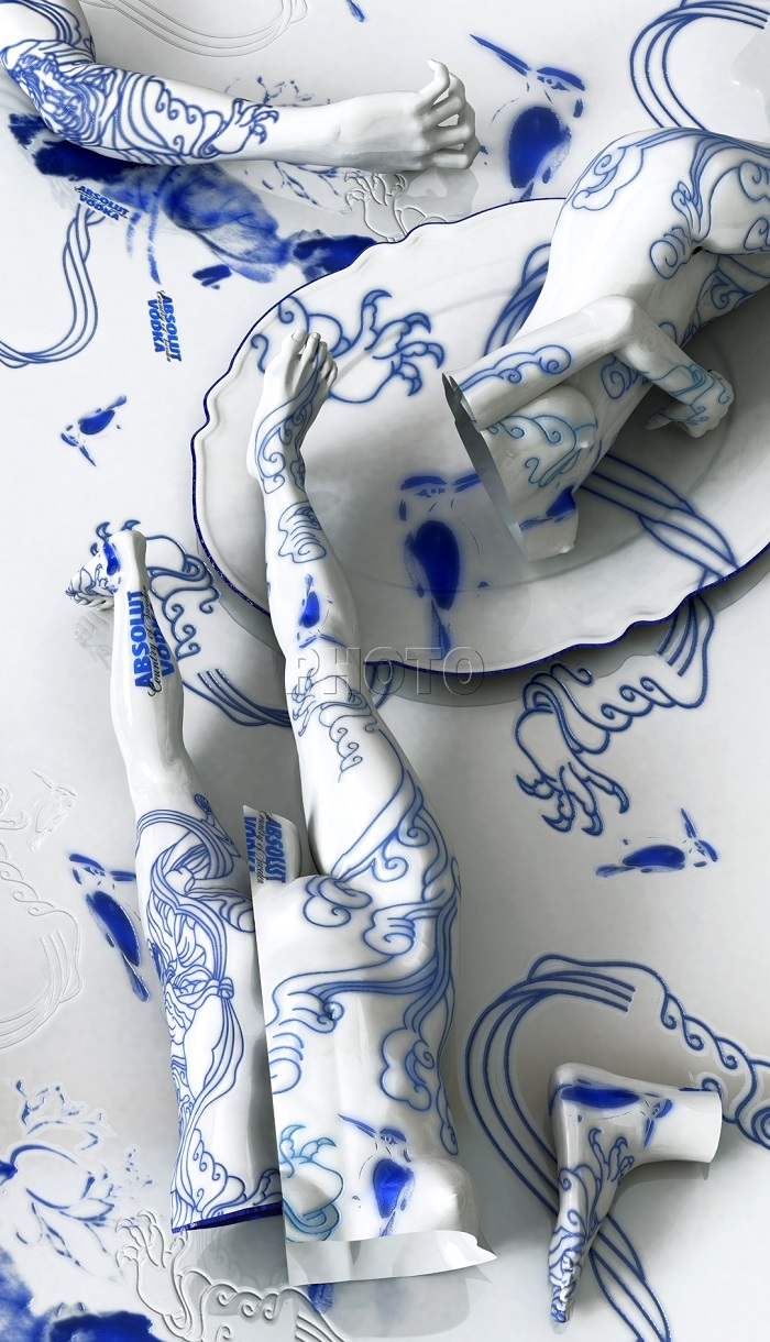 """""""Korean artist Kim Joon fabricates images of fragments of hollow porcelain that resemble nude bodies.""""  Kim Joon porcelain tattoos Joon Kim porcelain tattoos arts and crafts i lobo you4"""