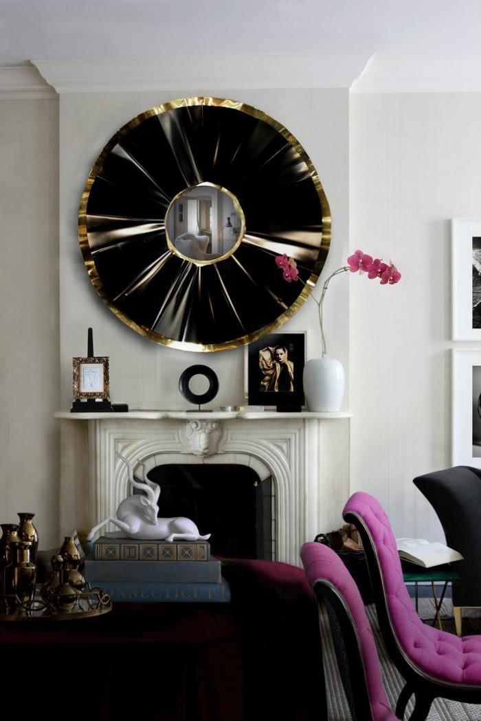 Round mirror: 10 ideas and styles  Round mirror: 10 ideas and styles black and gold mirror