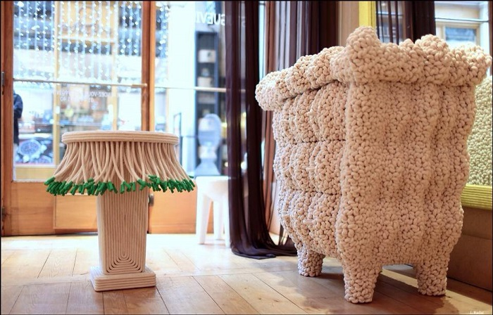 """""""Christian Astuguevieille designs are a majestic view into a created culture. Natural rope and painted cotton cord wrapped over a wood base creates creative furniture"""""""