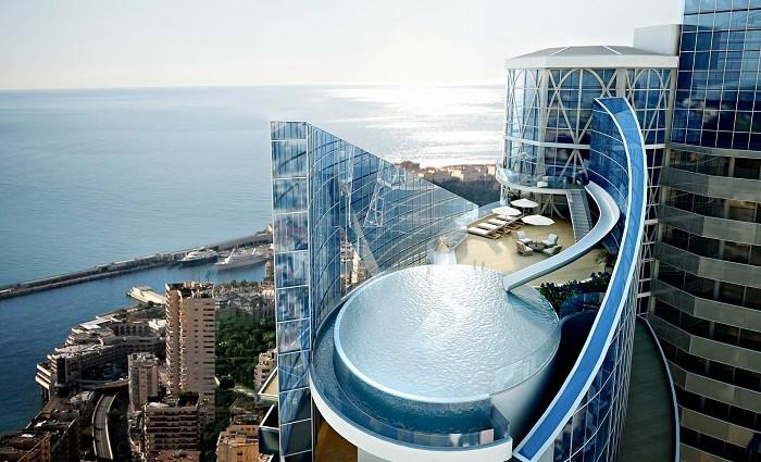 """""""Rising above the waters of the Mediterranean and the captivating Principality of Monaco, the most expensive apartment in the world, actually a penthouse"""""""
