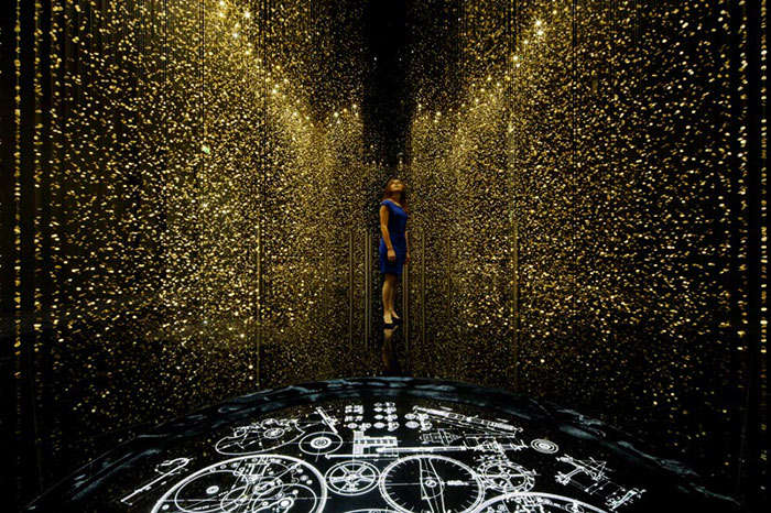 """""""The DGT Architects firm together with Japanese watchmaker CITIZEN, has created an amazing piece of installation art that breathes magic and life""""  Magical Golden installation with 65,000 watch baseplates  Magical Golden installation with 65000 watch baseplates artists i lobo you3"""