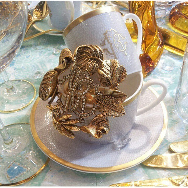 """""""Roberto Cavalli is presenting a new collection of luxury tableware at Milan Design week 2015"""""""