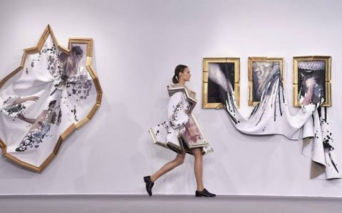 """Dutch fashion designers Viktor & Rolf transformed broken picture frames filled with fabric into haute-couture and fashionable dresses."""