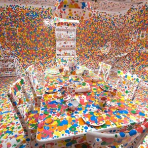 """""""Yayoi Kusama is a Japanese artist provocative with hallucinatory paintings of loops and dots."""""""