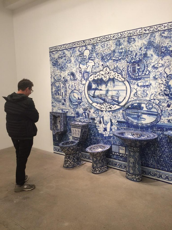 """Ann Agee is a contemporary artist living and working in Brooklyn. Working primarily in ceramic she has increasingly become known for her installations.""  Ceramic blue tiles for bathroom by Ann Agee Ceramic blue tiles for bathroom by Ann Agee Artists I Lobo you"