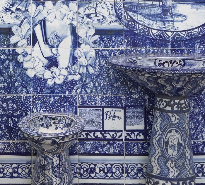 """Ann Agee is a contemporary artist living and working in Brooklyn. Working primarily in ceramic she has increasingly become known for her installations.""  Ceramic blue tiles for bathroom by Ann Agee Ceramic blue tiles for bathroom by Ann Agee Artists I Lobo you13"
