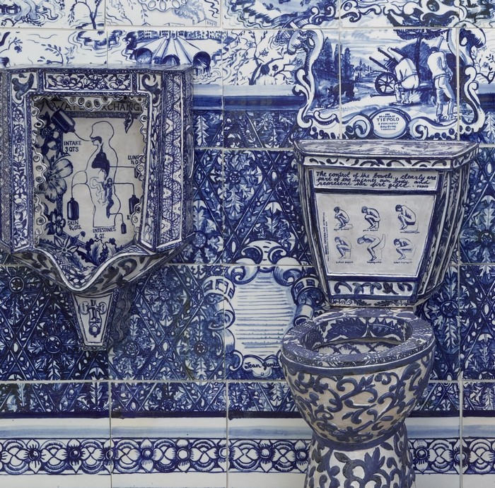 """Ann Agee is a contemporary artist living and working in Brooklyn. Working primarily in ceramic she has increasingly become known for her installations.""  Ceramic blue tiles for bathroom by Ann Agee Ceramic blue tiles for bathroom by Ann Agee Artists I Lobo you14"