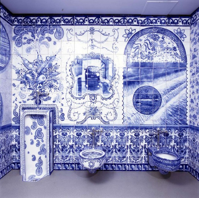 """Ann Agee is a contemporary artist living and working in Brooklyn. Working primarily in ceramic she has increasingly become known for her installations.""  Ceramic blue tiles for bathroom by Ann Agee Ceramic blue tiles for bathroom by Ann Agee Artists I Lobo you3"