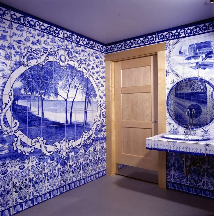 """Ann Agee is a contemporary artist living and working in Brooklyn. Working primarily in ceramic she has increasingly become known for her installations.""  Ceramic blue tiles for bathroom by Ann Agee Ceramic blue tiles for bathroom by Ann Agee Artists I Lobo you4"