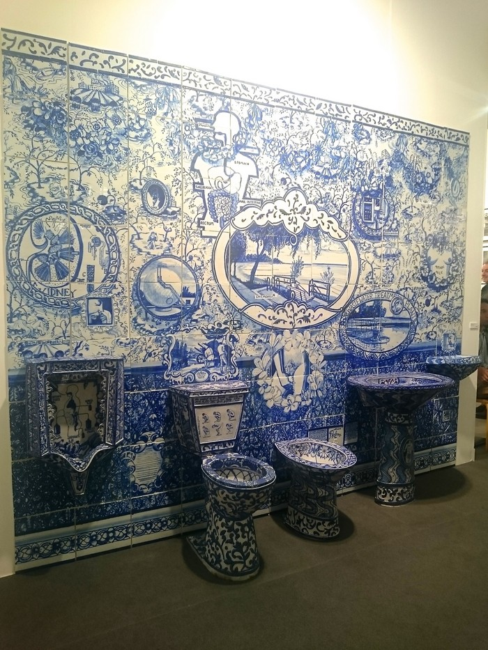 """Ann Agee is a contemporary artist living and working in Brooklyn. Working primarily in ceramic she has increasingly become known for her installations.""  Ceramic blue tiles for bathroom by Ann Agee Ceramic blue tiles for bathroom by Ann Agee Artists I Lobo you8"