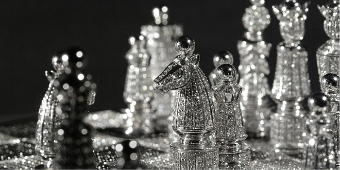 Renowned French artist and master of jewelry, Bernard Maquin created the Royal Diamond Chess which is the most expensive chess set.