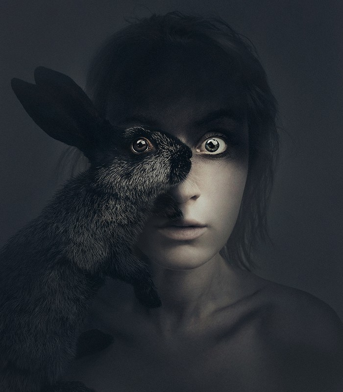 Flora Borsi is a young fine art photographer from Hungary forming a likeness between the animal kingdom and the human form.  Flora Borsi Flora Borsi combines human body with animals Flora Borsi combines human body with animals artists I Lobo you