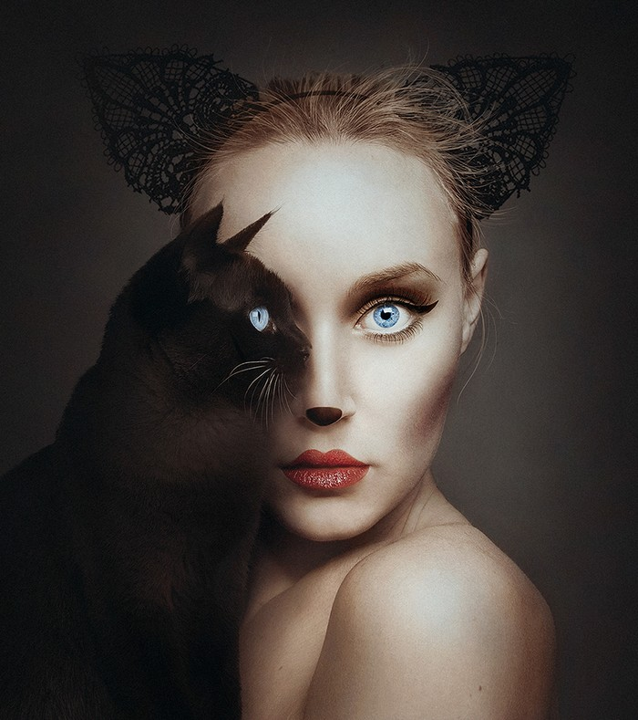 Flora Borsi is a young fine art photographer from Hungary forming a likeness between the animal kingdom and the human form.  Flora Borsi Flora Borsi combines human body with animals Flora Borsi combines human body with animals artists I Lobo you3