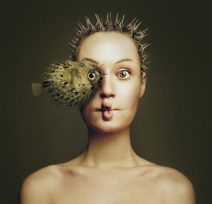 Flora Borsi is a young fine art photographer from Hungary forming a likeness between the animal kingdom and the human form.  Flora Borsi Flora Borsi combines human body with animals Flora Borsi combines human body with animals artists I Lobo you6