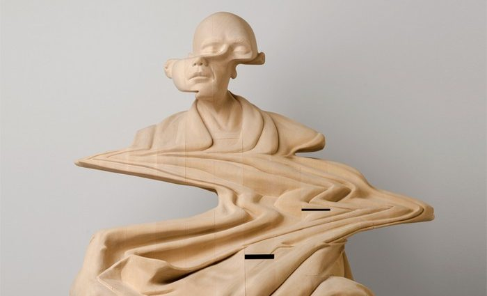 Perth-based artist Paul Kaptein works with large blocks of laminated wood to reveal warped and distorted sculptures of human figures.