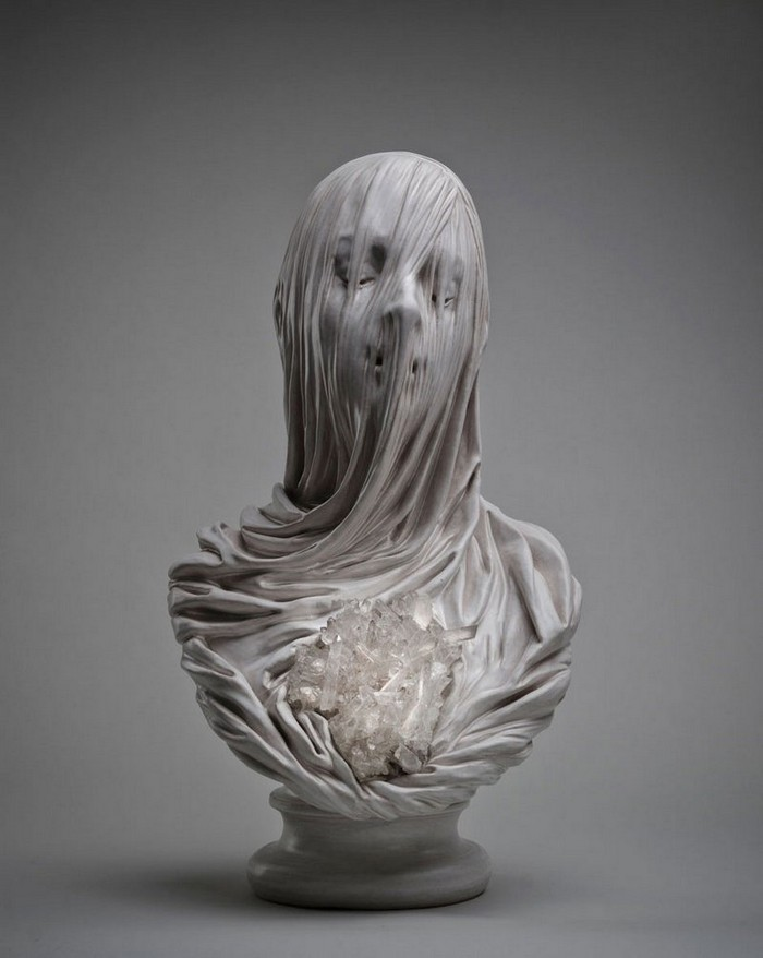 Livio Scarpella is a contemporary Italian sculptor whose work harkens back to the incredible craftsmanship of marble sculptors from the 1700s.  Livio Scarpella Artistic veiled busts by Livio Scarpella Artistic veiled busts by Livio Scarpella artists I Lobo you2