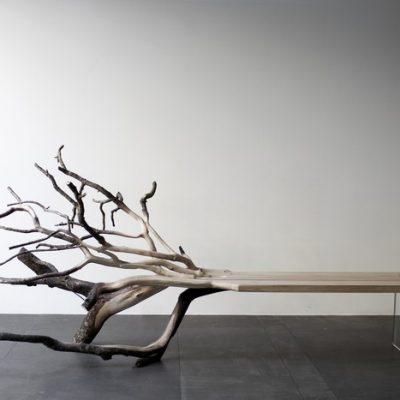 Sculptural wood bench by Benjamin Graindorge