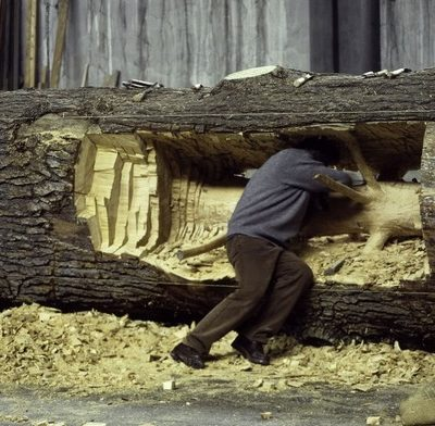 Tree carved sculptures by Giuseppe Penone
