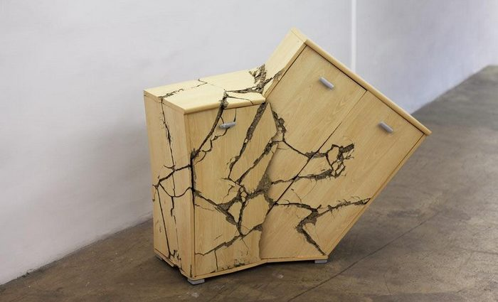 """Baptiste Debombourg is a French artist known for his artistic installation on an architectural level, but today we present the """"crashed furniture"""" he creates."""