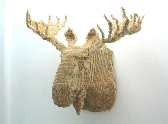 animal sculptures Pixelated animal sculptures by Shawn Smith Pixelated animal sculptures by Shawn Smith arts and crafts I Lobo you11