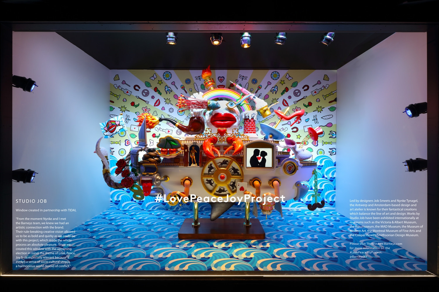 Barneys New York, the luxury specialty retailer, announces the launch of its 2016 holiday: Love Peace Joy Project, in association with many renowned designers. Barneys Barneys New York Madison Avenue Holiday Window Barneys New York Madison Avenue Holiday Window I Lobo you