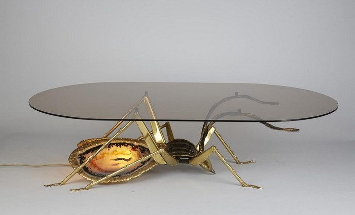 Henri Fernandez left a legacy on design nowadays as the insects are turning back to the trends. Back in the 70's Henri was already designing art furniture.