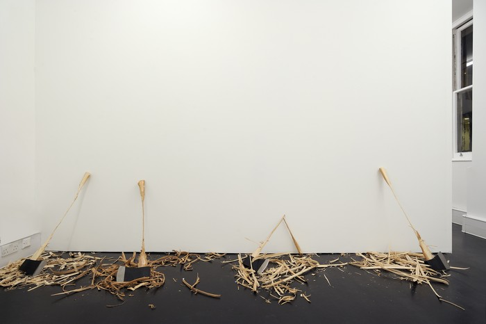 David Adamo is known for minimalist artistic installations of wooden utilitarian objects, whittled down to fragility and accompanied by piles of wood shavings.