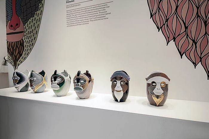 """Elena Salmistraro """"primates"""" collection for Bosa was presented at Maison et Objet 2017, a collection of ape-like creatures in saturated hues."""