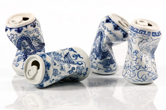 Using the medium of porcelain, artist Lei Xue's series may be read as a commentary about things impact in the environment with ceramic crashed objects.