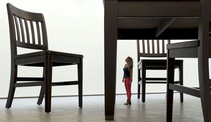 Working in both two and three dimensions, Robert Therrien transforms elements from the culture of everyday life into giant furniture.