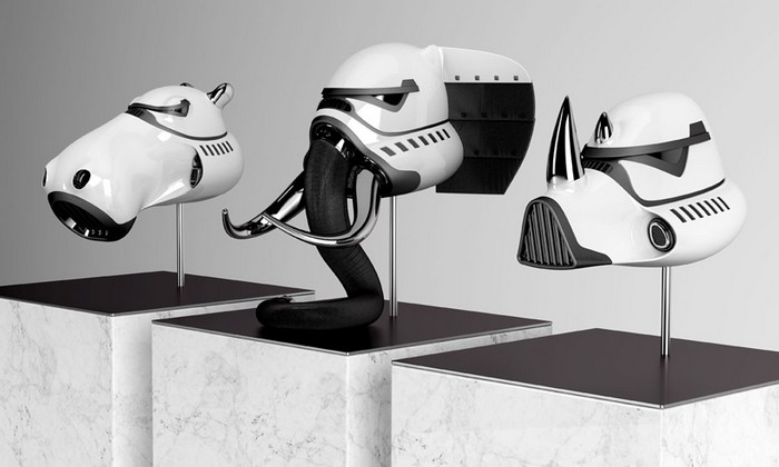 Blank William is a New York-based designer that created a series of animal sculptures as stormtrooper helmets.