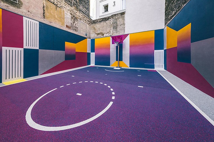Basketball Court New colorful Basketball Court in Paris New colorful Basketball Court in Paris artists I Lobo you2