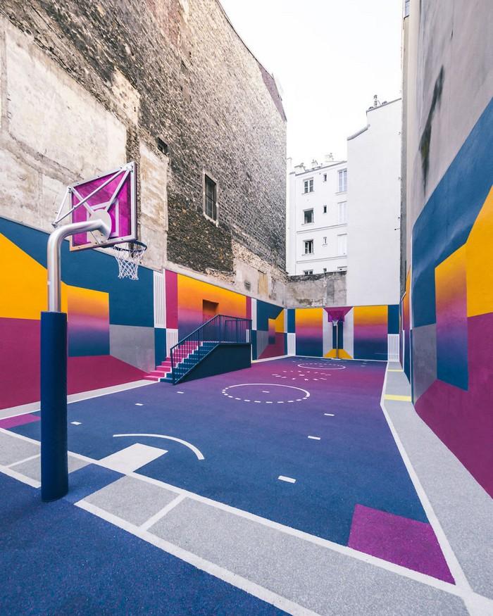 Basketball Court New colorful Basketball Court in Paris New colorful Basketball Court in Paris artists I Lobo you9