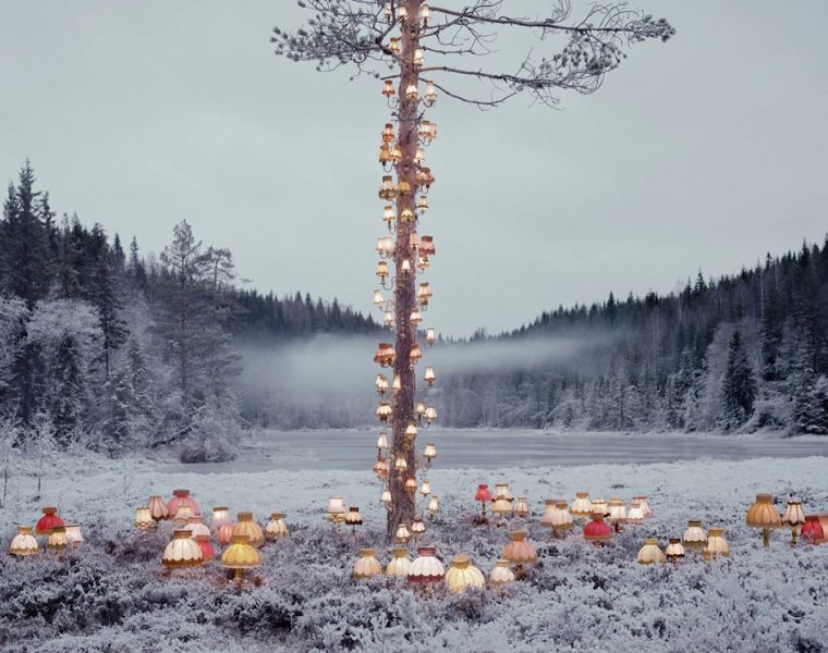 Rune Guneriussenis the Norwegian artist behind the surrealism art creation of an enchanted forest filled with lamps and books.