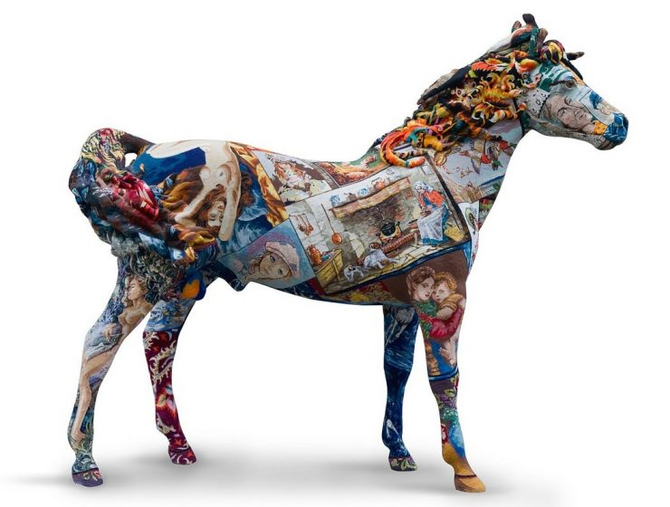 Frederique Morrel gets inspired on her grandmother's tapestries to cover animal sculptures with them creating fun contemporary art.