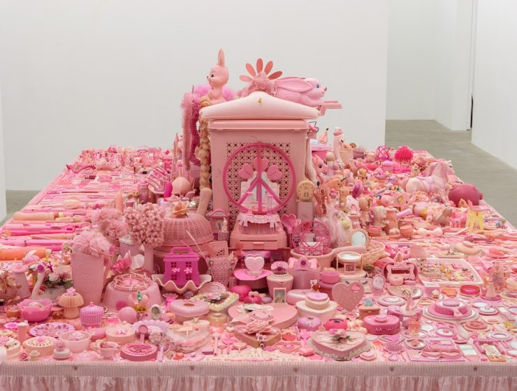 Portia Munson is a visual artist who works in a range of mediums from photography to sculpture. She created a pink table installation that is really outstanding