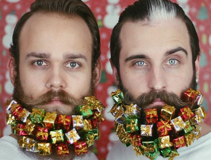 The Gay Beards project is two friends decorating their big beards in several different ways. Some can be used as Christmas decoration ideas for your own beard. christmas decoration ideas Christmas decoration ideas for your beard 1Christmas decoration ideas for your beard I Lobo you 740x560