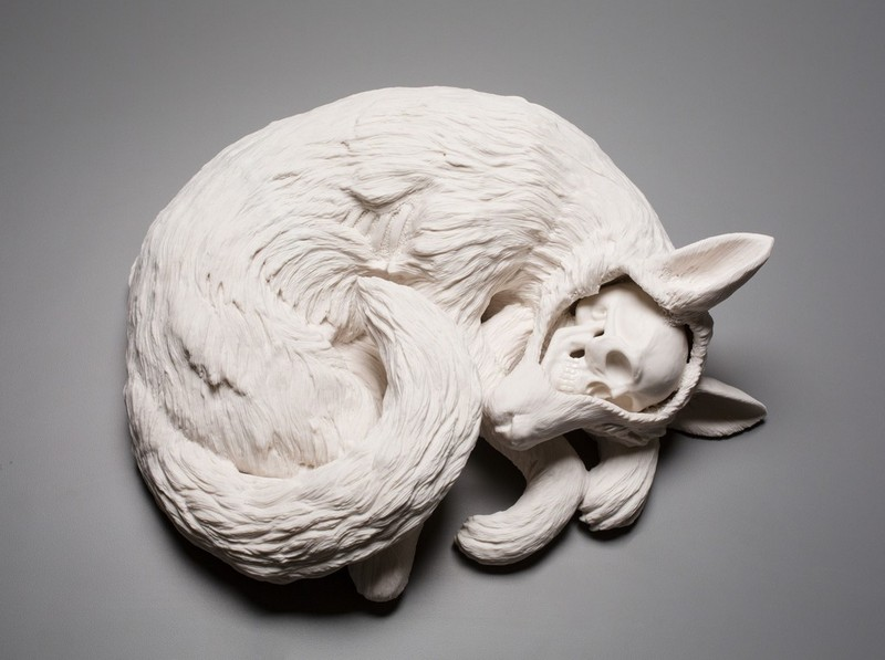 sculptures Human and Natural Elements in Sculptures by Kate MacDowell kate mcdowell i lobo you5
