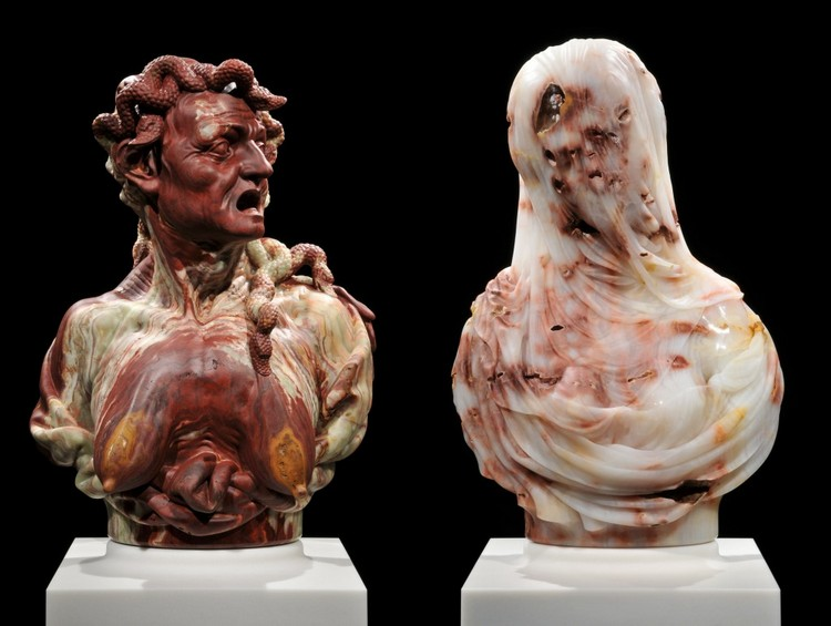 sculptures Destroyed bust sculptures by Barry X Ball barry ball i lobo you 5