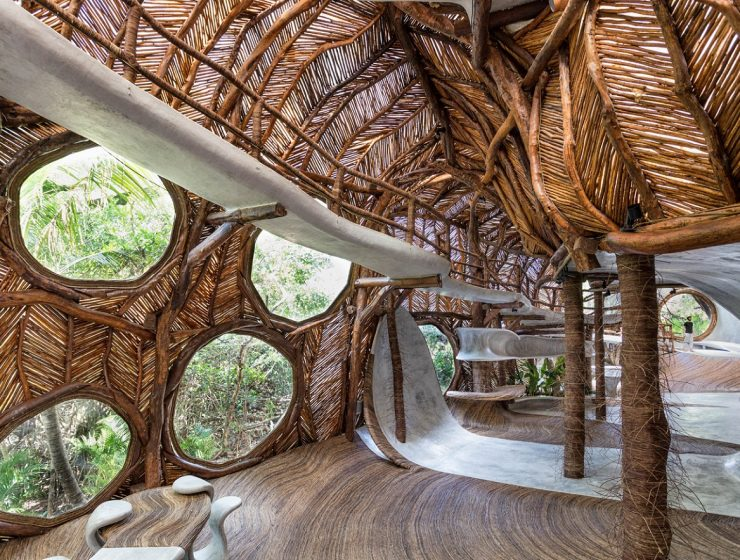 The great-grandson of art collector Peggy Guggenheim has opened a gallery at an eco-resort in Tulum with an unusual sight in modern architecture.