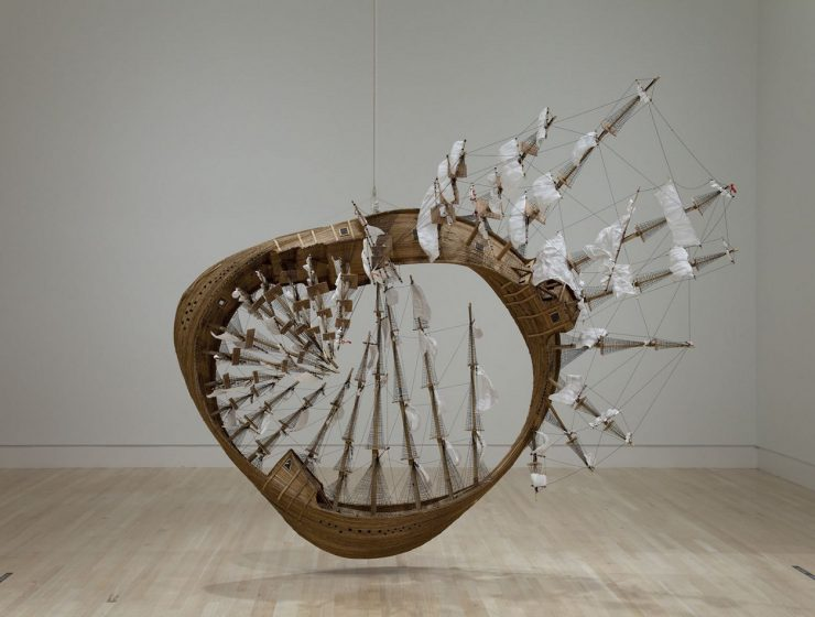 Tim Hawkinson uses a wide variety of materials, such as plastic bags, used socks, or discarded organic material from his body to create contemporary sculptures.
