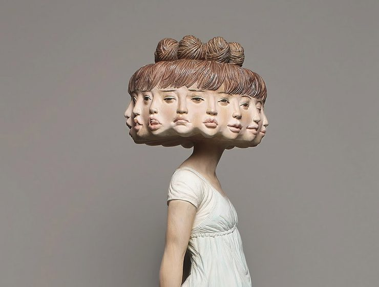 Japanese artist Yoshitoshi Kanemaki departs from the traditional norms of wood carving techniques to create contemporary sculptures with surreal motifs.